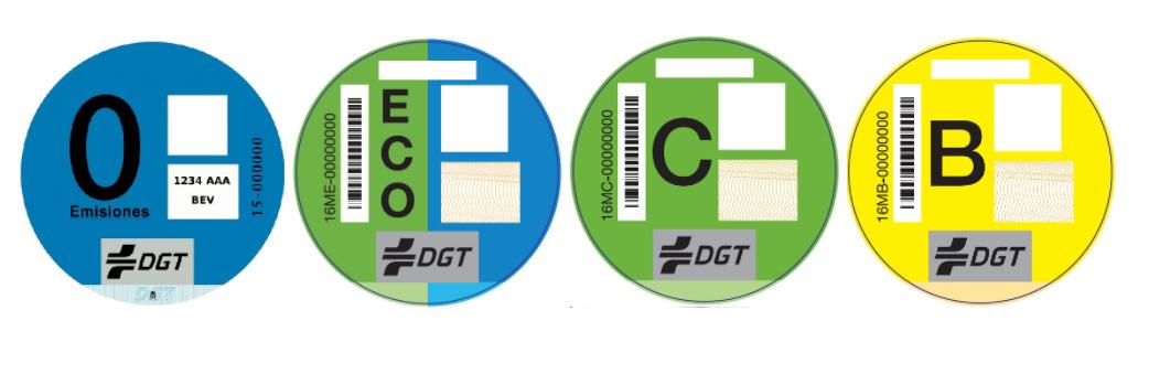 Pegatinas eco, 0 emisiones, C y B de la DGT