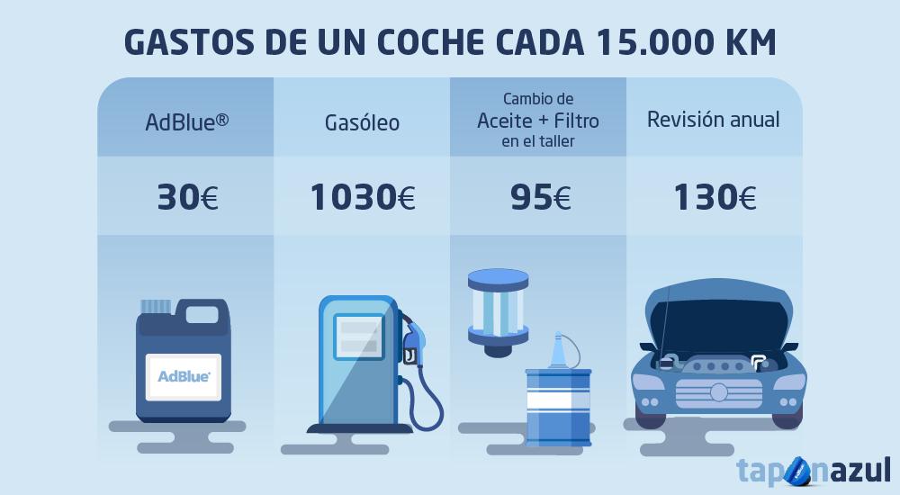 Grafico gastos del coche adblue gasoleo revision aceite